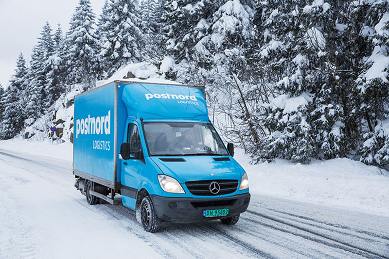 postnord crisis management truck driving in snow