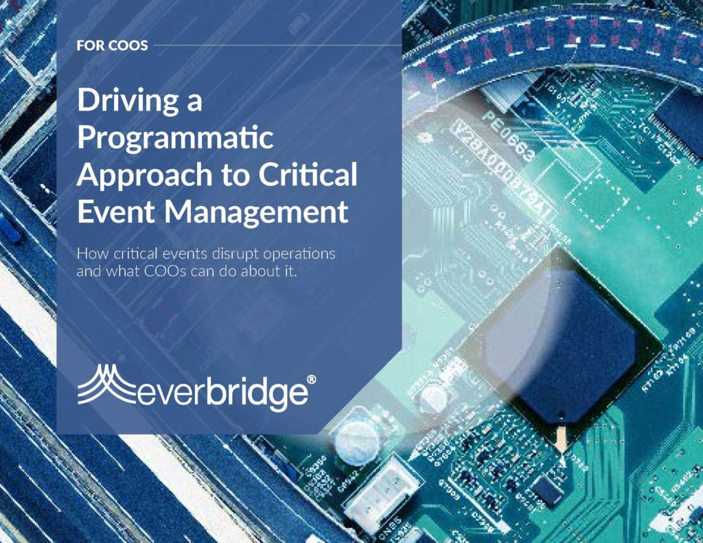 driving a programmatic approach to critical event management Chief operations officer executive brief