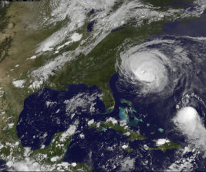 September 2, 2010 - Hurricane Earl showing a tightly wound spiral of clouds with a clear eye. it grazes Cape Hatteras, North Carolina.