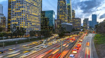 Evening traffic in downtown Los Angeles