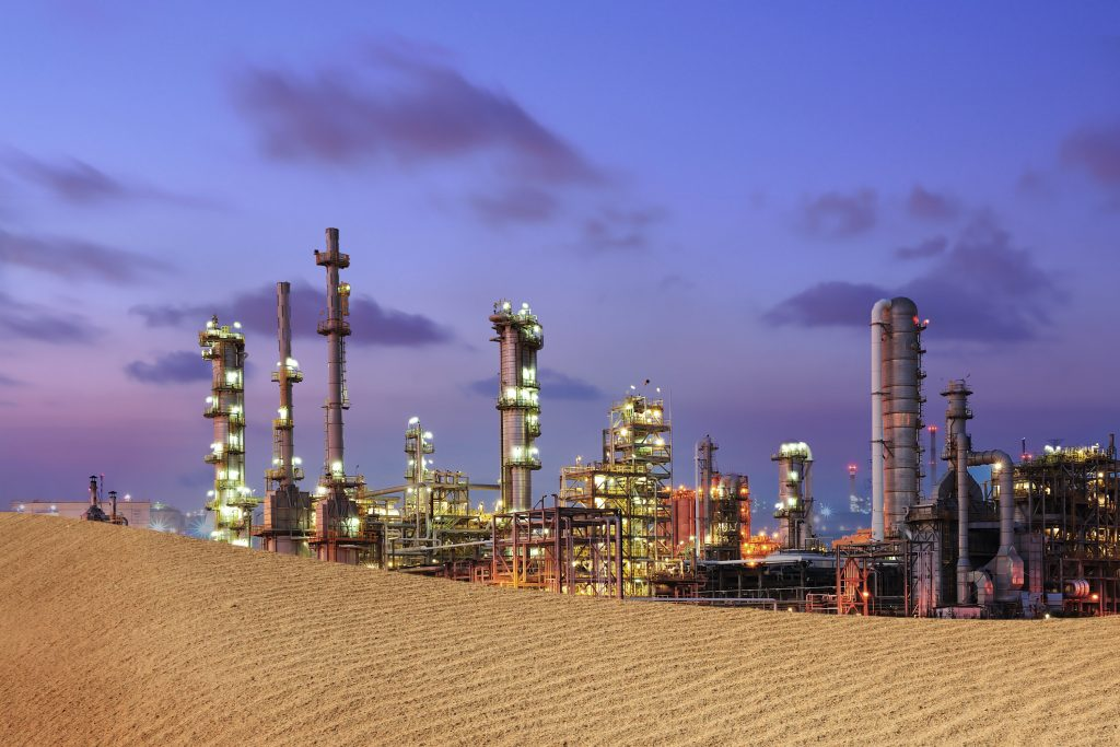 Petrochemical plant on desert.