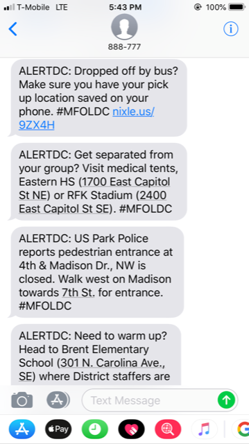 /></td> </tr> </tbody> </table> <p>In addition to the alerts, United States Park Police also used Everbridge to solicit anonymous text message tips from attendees. Among the tips received by law enforcement was a report of a duffel bag left unattended near the demonstration, and the need for a medic. In both cases, nearby officers were dispatched to the locations to investigate.</p> <p>DC officials previously used Everbridge's keyword alerts for other large gatherings in the area, including the 2017 Presidential Inauguration (Keyword: INAUG), Pope Francis' visit to the city in 2015 (Keyword: DCPOPE), and the annual Fourth of July celebrations on the National Mall (Keyword: JULY4DC).</p> </div> </div> </div> <div id=